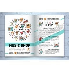 Music brochure modern icons line art style mock vector