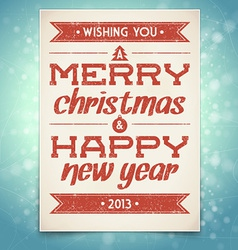 Christmas and new year greeting card with typograp vector