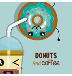 Donut and coffee kawaii cartoon vector