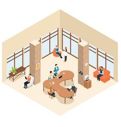 Coworking isometric center interior concept vector