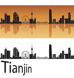 Tianjin skyline in orange background vector image