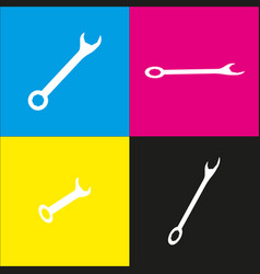 crossed wrenches sign  white icon with vector image