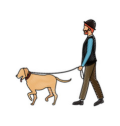 Drawing bearded gentleman man walking with dog vector