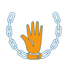 Hand with handcuffs and chain icon vector