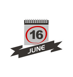 16 june calendar with ribbon vector image vector image