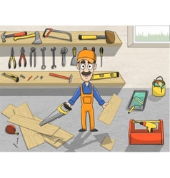 Happy carpenter character at work vector