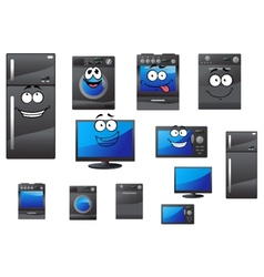 Cartoon household and kitchen appliances vector