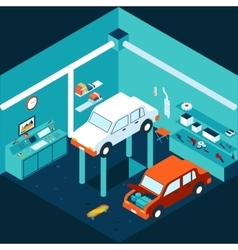 Isometric 3d garage car repair vector