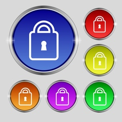 Lock icon sign round symbol on bright colourful vector