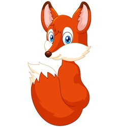 Adorable fox cartoon vector