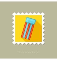 Floating mattress on beach flat stamp vector