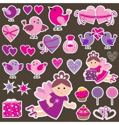 Stickers with scrapbook vector