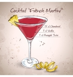 French martini cocktail vector