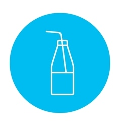 Glass bottle with drinking straw line icon vector