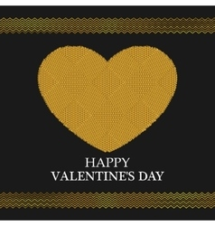 Valentines day greeting card golden heart vector