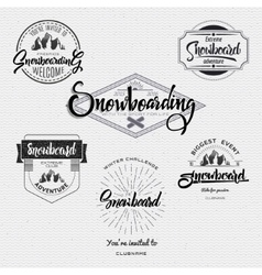 Badges snowboard handmade designed brush lettering vector