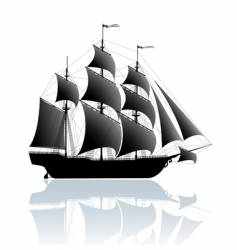 black ship vector image vector image