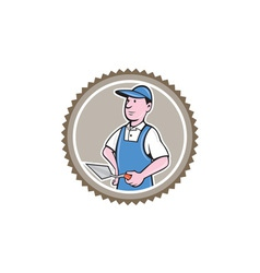 Bricklayer mason plasterer rosette cartoon vector