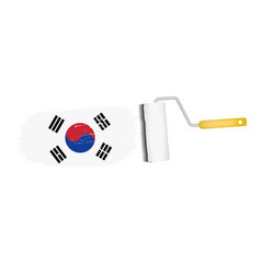 brush stroke with south korea national flag vector image vector image
