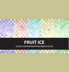 checkerboard pattern set fruit ice seamless vector image vector image