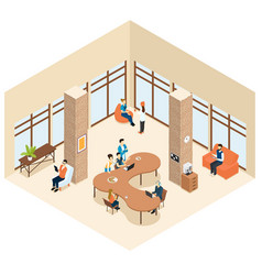 coworking isometric center interior concept vector image
