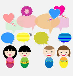 Cute kids with speech bubbles vector