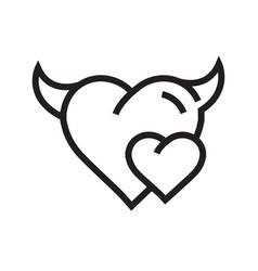 Devil mini heart icon vector