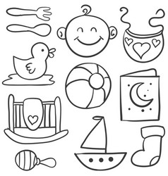doodle of baby object set vector image