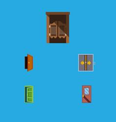 Flat icon door set of door saloon entry and vector