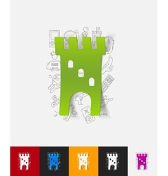 Fortress paper sticker with hand drawn elements vector