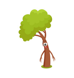 Funny comic tree character feeling sad upset vector