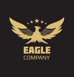 Gold heraldic eagle logo design vector