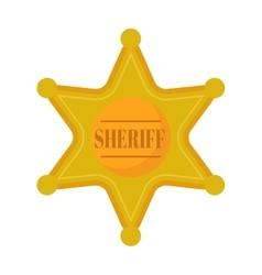 Golden west sheriff star metal badge vector image
