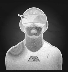 Graphic man wearing virtual reality headset vector