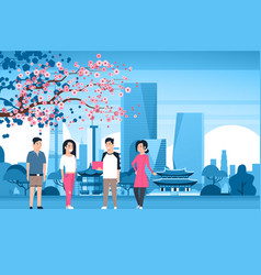 group of korean people over seoul city background vector image