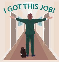 Happy new employee enjoys to got job vector