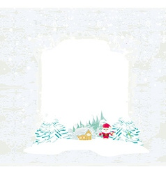 Happy New year card with Santa Claus and winter vector image vector image