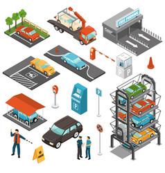 isometric car parking icon set vector image