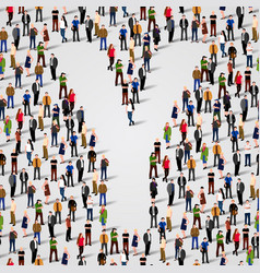 large group of people in letter y form vector image vector image