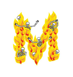 Letter m hellish flames and sinners font fiery vector