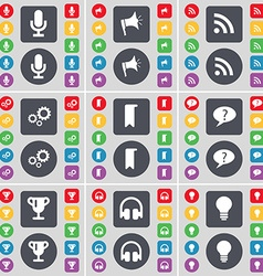 Microphone Megaphone RSS Gear Marker Chat bubble vector image vector image