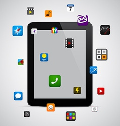 Modern tablet with apps vector