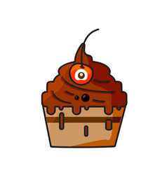 monster cupcake vector image