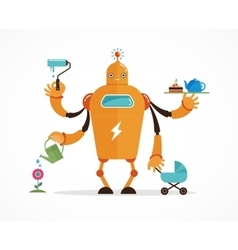 Multitasking robot character vector image