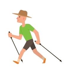 Nordic walking sport character vector