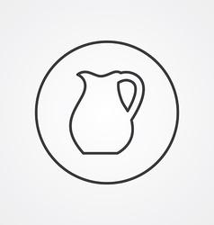 Pitcher outline symbol dark on white background vector