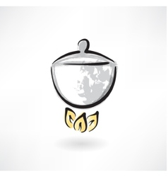 Pot on fire grunge icon vector