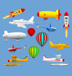 Set of different types of air transport airplanes vector