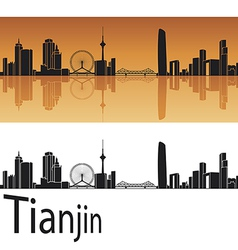 Tianjin skyline in orange background vector image vector image