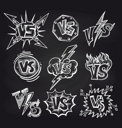 Versus logos on blackboard background vector